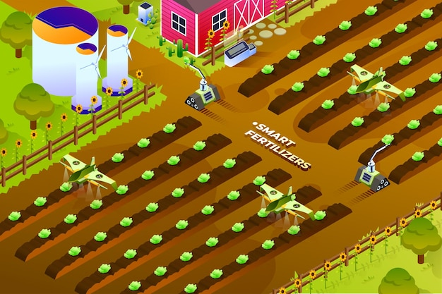 Fertilizantes inteligentes - ilustração isométrica