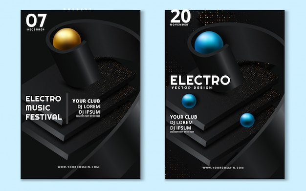 Fest de música eletrônica e cartaz de onda electro verão.