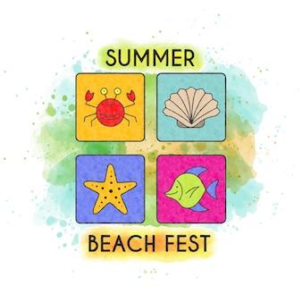 Fest praia de verão. banner aquarela