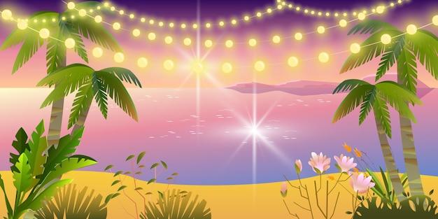 Festa à noite de verão, fundo de férias no paraíso, oceano, praia, palmeiras, areia