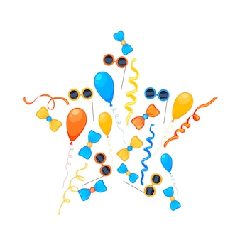 Festa colorida conjunto de itens em um fundo branco. celebração do evento feliz aniversário. multicolorido. vetor.