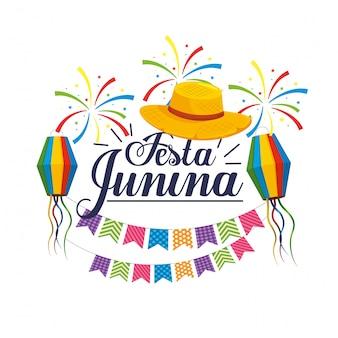 Festa com chapéu e lanternas para festa junina
