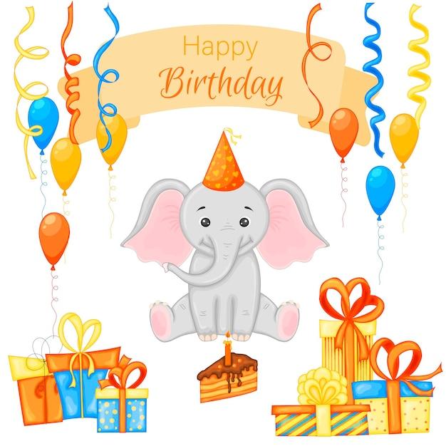 Festa com elefante e itens coloridos em um fundo branco. inscrição