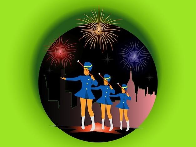 Festa com fogos de artifício e cheerleaders