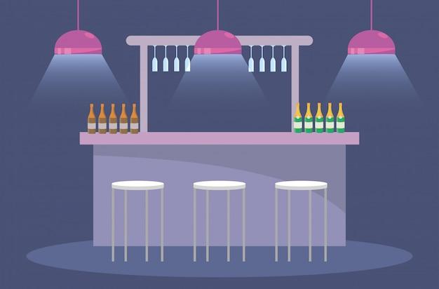 Festa com garrafas de champanhe e luzes com cadeiras