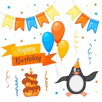 Festa com pinguim e itens coloridos em um fundo branco. inscrição