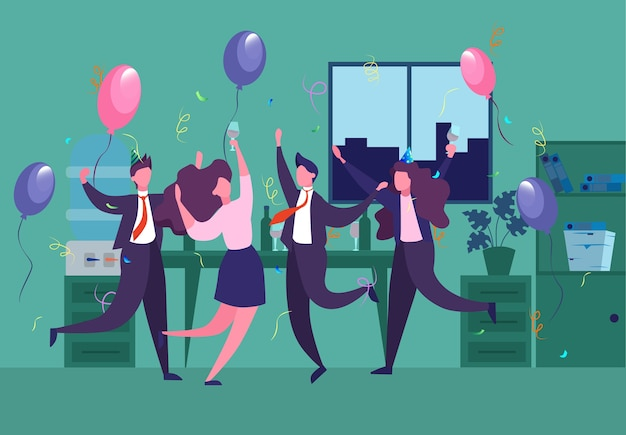 Festa corporativa no escritório com balões e confetes. pessoas sorridentes se divertem e dançam. ilustração