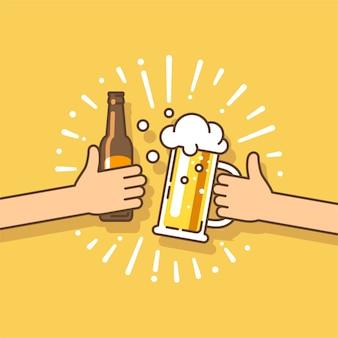 Festa da cerveja. duas mãos segurando a garrafa de cerveja e o copo de cerveja.