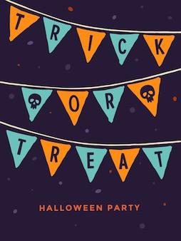 Festa da noite de halloween. cartão de modelo com imagem de bandeiras coloridas e com palavras doces ou travessuras e crânio em fundo escuro.