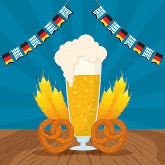 Festa da oktoberfest com design de ilustração vetorial de copo de cerveja e pretzels