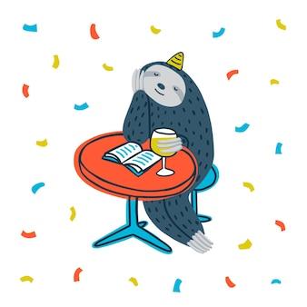 Festa da preguiça preguiçosa preguiça bonita sentada à mesa com livro e vinho