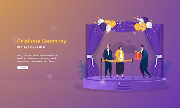 Festa de abertura com corte de fita no palco para celebrar o conceito de cerimônia