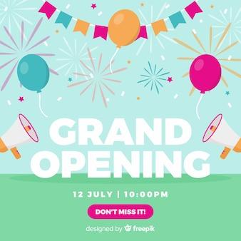 Festa de abertura em breve design plano de fundo