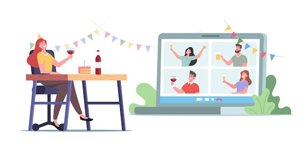 Festa de álcool de computador, aniversário virtual, evento festivo online home. personagens de amigos tilintam de óculos no monitor do computador, comemora o feriado, bebe e bate-papo pelo computador. ilustração em vetor desenho animado