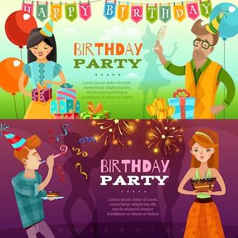 Festa de aniversário 2 banners horizontais festivas
