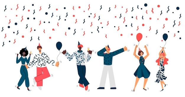 Festa de aniversário com ilustração de desenho de pessoas