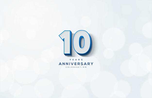 Festa de aniversário com números brancos com uma linha azul.