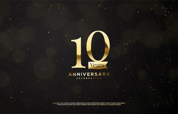 Festa de aniversário com números de ouro com fitas de ouro sobre fundo escuro.