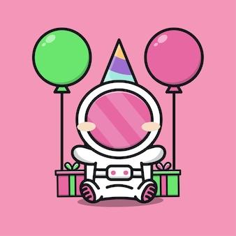 Festa de aniversário de astronauta fofa com presente e ilustração de desenho em balão