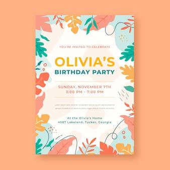 Festa de aniversário de design plano com folhas