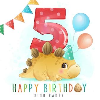 Festa de aniversário de dinossauro fofo com ilustração de numeração