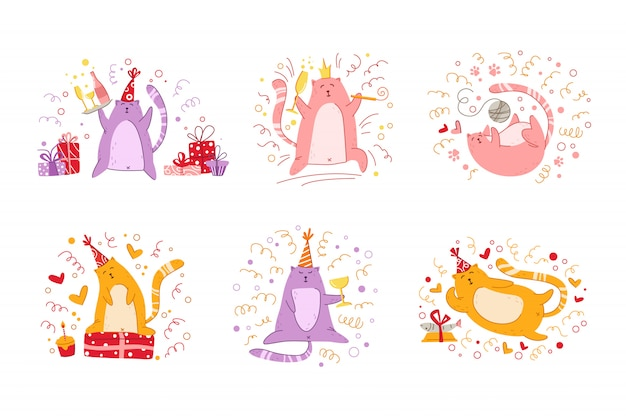 Festa de aniversário de gatos conjunto gatinhos engraçados no chapéu festivo, caixas de presente e presentes, brinquedos, bolo de aniversário e bebida,