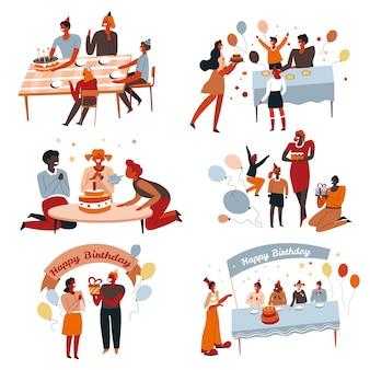 Festa de aniversário e bolo, crianças e pais comemorando, caixas de presente