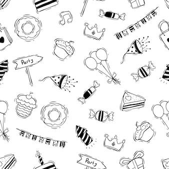 Festa de aniversário no padrão sem emenda com estilo doodle preto e branco