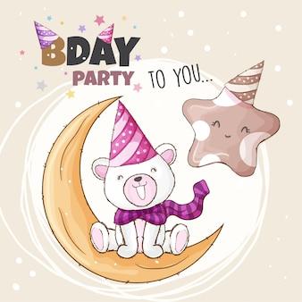 Festa de aniversário para você, ilustração de urso polar e estrela
