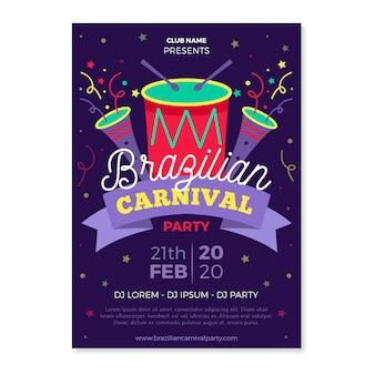 Festa de carnaval brasileira com bateria colorida e cartaz de confetes