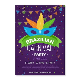 Festa de carnaval brasileira com cartaz de máscara colorida
