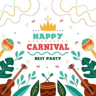 Festa de carnaval colorido mão desenhada