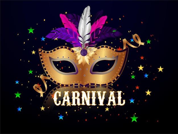 Festa de carnaval com máscara dourada