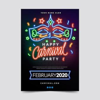 Festa de carnaval de néon em luzes coloridas