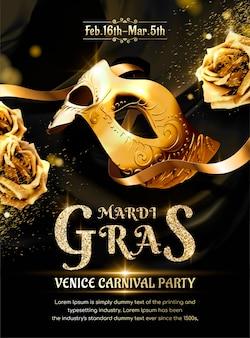 Festa de carnaval mardi gras com máscara dourada e rosas