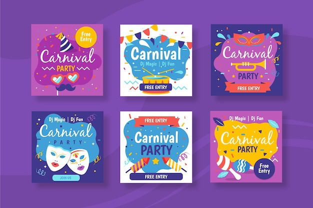 Festa de carnaval para design de coleção de post do instagram