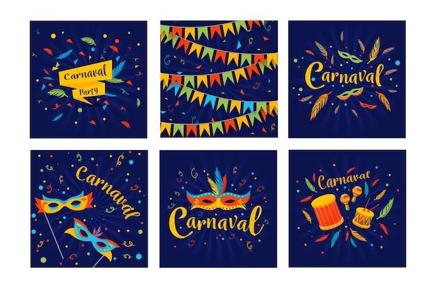 Festa de carnaval para instagram post coleção tema