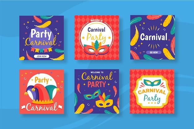 Festa de carnaval para o conceito de coleção de post do instagram