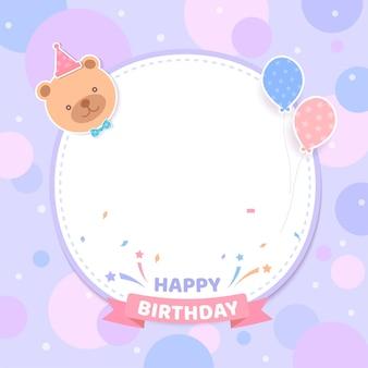 Festa de cartão de aniversário com ursinho de pelúcia e moldura