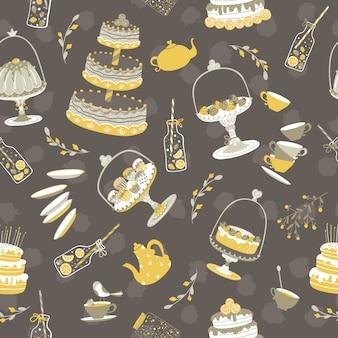 Festa de chá crianças. diferentes bolos e presentes. bolinhas sem costura padrão em um fundo escuro. ilustração no estilo escandinavo desenhado à mão dos desenhos animados simples. cores pastel vintage