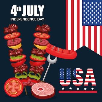 Festa de churrasco do dia da independência dos eua