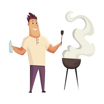 Festa de churrasco. homem com uma churrasqueira. piquenique com bife de alimentos frescos e salsichas. feliz sorridente personagem homem cozinhar uma churrasqueira.