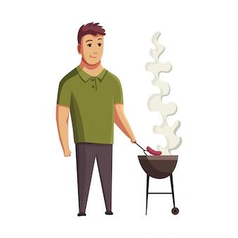 Festa de churrasco. homem com uma churrasqueira. piquenique com bife de alimentos frescos e salsichas. personagem de homem sorridente feliz fazendo um churrasco.