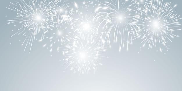 Festa de comemoração com tema de fogos de artifício e natal feliz ano novo design de plano de fundo