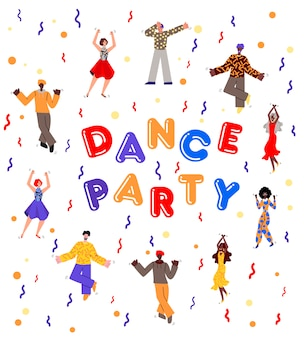 Festa de dança com pessoas dos desenhos animados, dançando entre confetes