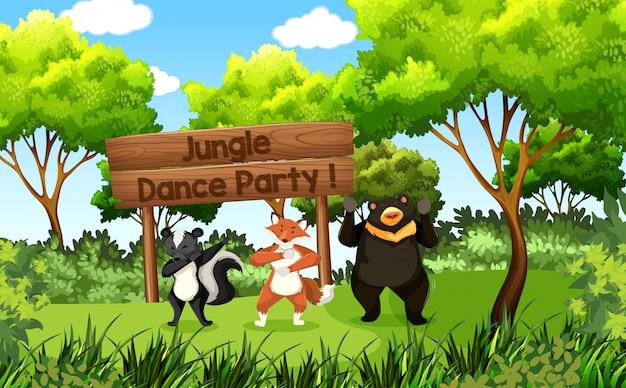 Festa de dança de selva de animais fofos