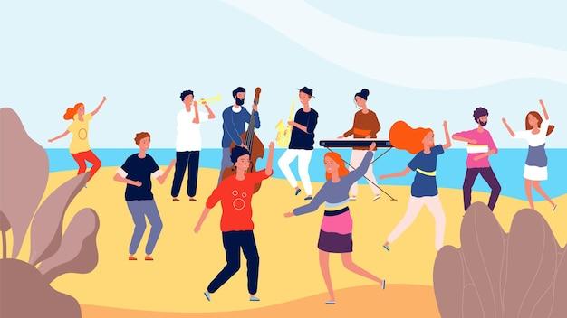 Festa de dança na praia. feliz multidão de pessoas dançando perto do oceano.