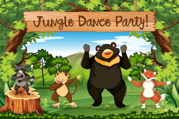 Festa de dança na selva