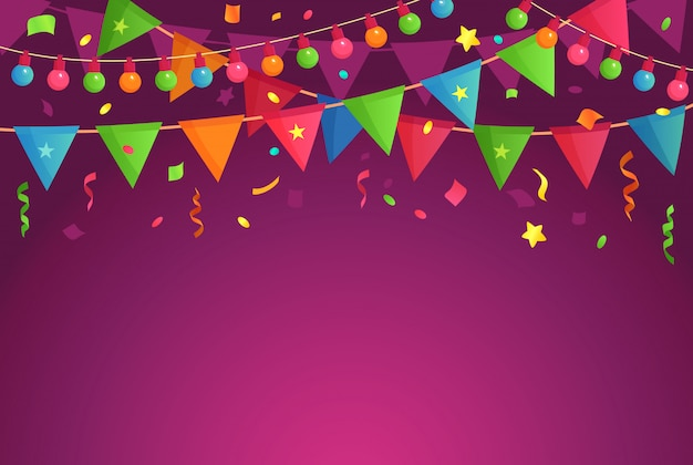 Festa de decoração dos desenhos animados. comemore bandeiras de aniversário com confetes, fundo festival e divertida ilustração de decorações de eventos