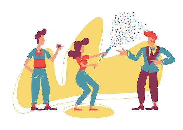 Festa de estilo retro 2d. caras antiquados e garota atraente com caracteres plana de confete popper em fundo de desenhos animados. discoteca vintage, patches para impressão de baile, elementos da web